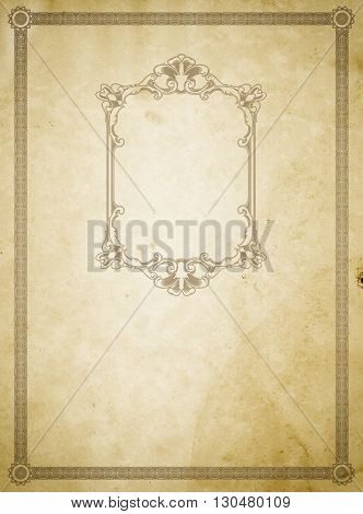 Old dirty paper backdrop with old-fashioned frame and border.