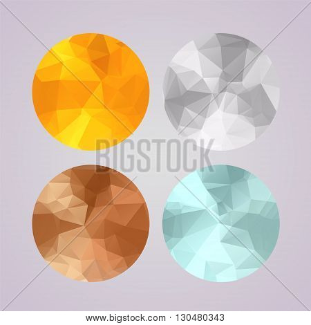 Set of medals gold, silver, bronze, platinum in polygonal geometric trendy style