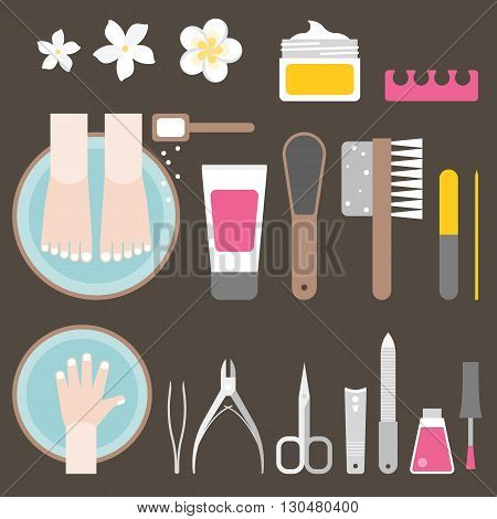 manicure and pedicure icon set, flat design