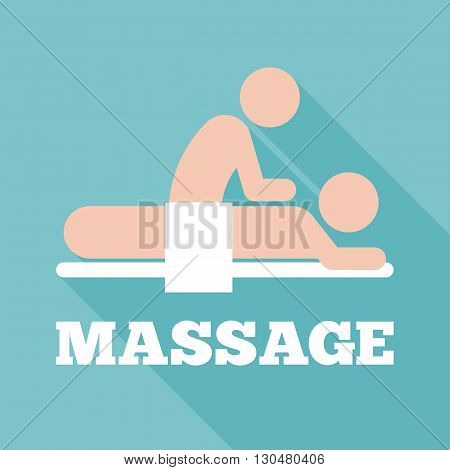 massage icon, flat design with long shadow