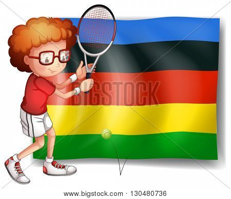 Olympics flag and tennis player illustration