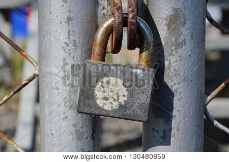 master key lock on the iron wire door