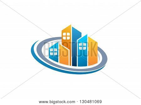 real estate house logo, circle apartment home buildings symbol icon vector design.