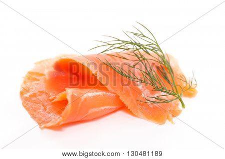smoked salmon isolated on white