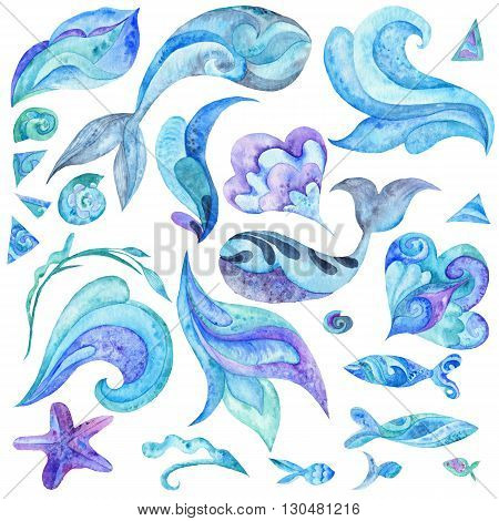 Collection of creative sea illustrations of fishes, whales, shells, waves isolated on white background
