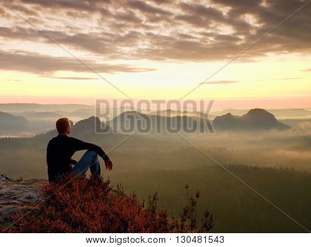 Tall Hiker In Dark Shirt Sit On A Rockatn Heather Bushes, Enjoy Misty Morning  Scenery