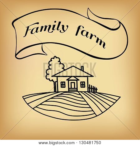 Black farm and field on beige background. Agriculture Landscape. American Farm hand drawn vector sketch. Engraving illustration. Great for bakery and travel ads brochures labels
