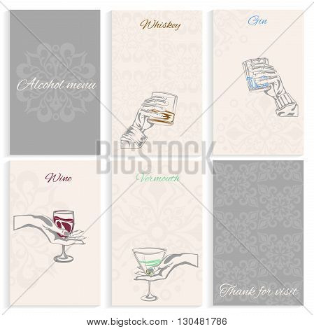 Set pages for alcohol menu on light background man and womans hand holding glass whiskey, wine, vermouth, gin. Hand-drawn design element. Engraving style. Vector illustration
