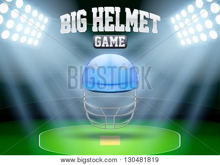 Horizontal Background for posters night cricket stadium with cricket helmet in the spotlight. Editable Vector Illustration.
