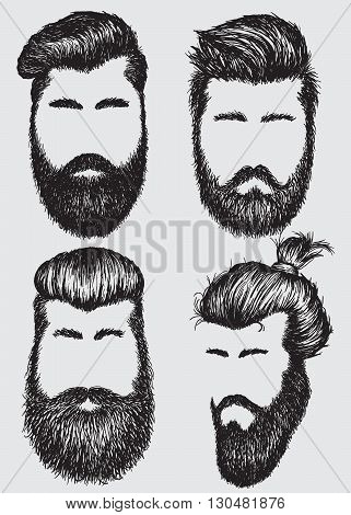 Collection of  hipster hairstyles and beards.Fashion style
