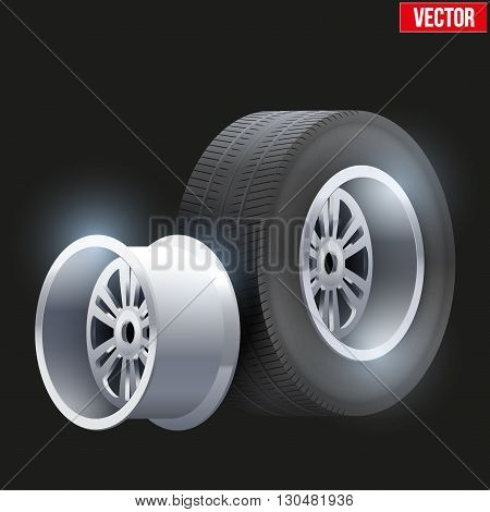 Complect Car tires and wheel at warehouse. Vector Illustration isolated on white background