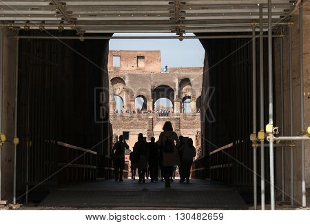 ROME ITALY - APRIL 7 : The Colosseum in Rome with restore works in progress on the facade. The Colosseum or Coliseum also known as the Flavian Amphitheatre in Rome Italy on April 7 2016.