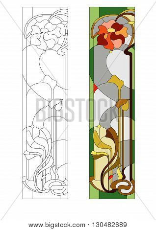 Stained glass pattern with red stylization flower