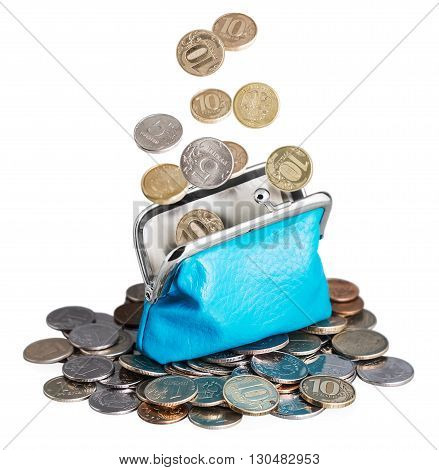 purse with falling coins. Isolated on white background