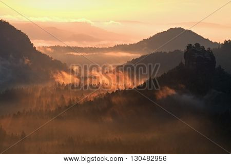 Cold Morning In Hilly Landscape  At The End Of Summer. Colorful Summer Morning With Golden Light And