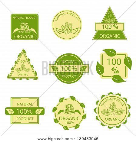 Organic natural emblems products, quality mark, elements flora, labels, set for food and drink, restaurants. Vector illustration