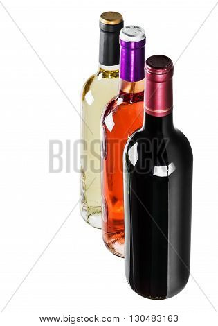 different varieties of wine bottles on a white background