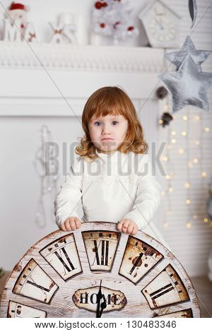 Baby Girl With Big Clock Dial