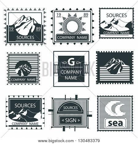 Set vintage emblem depicting mountains, labels and badges collection. Vector illustration Isolated