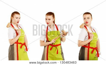 Angry Housewife With A Meat Hammer In Her Hands.