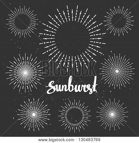 Vintage sunburst collection. Chalk elements. Hipster style. Vector illustration.