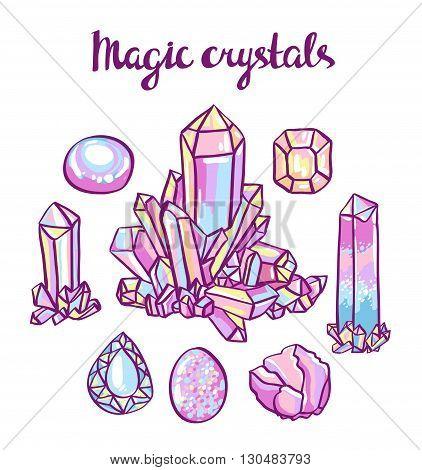 Set of magical crystals. Jeweler hand-drawn set.