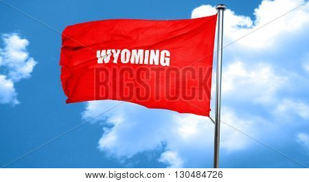wyoming, 3D rendering, a red waving flag