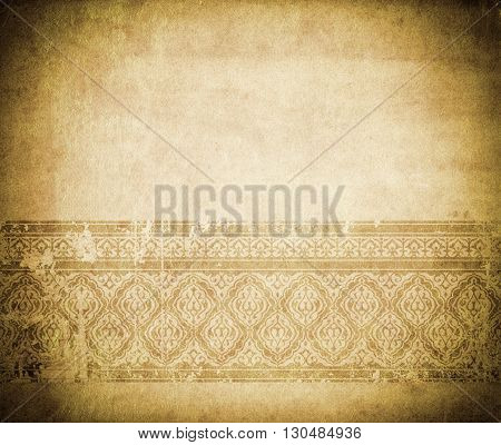 Old grunge paper background with decorative vintage border and copy space.