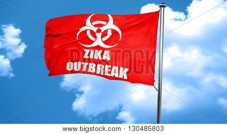 Zika virus concept background, 3D rendering, a red waving flag