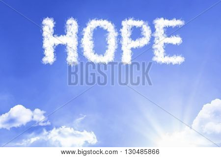 Hope cloud word with a blue sky
