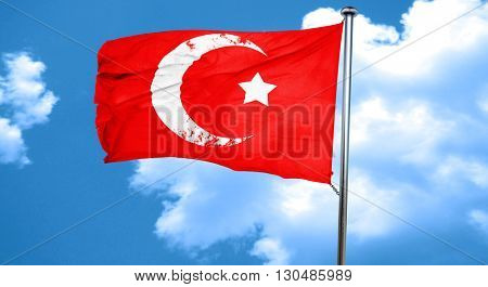 Islam faith symbol, 3D rendering, a red waving flag