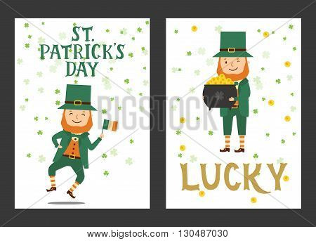 Set of card for Patrick day. Card with lettering Saint Patrick Day lucky. Elements for holidays card decoration party poster. Greeting card. Vector illustration with Leprechaun flag pot coins