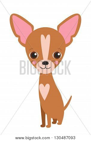 Illustration of cute dog Chihuahua. Nice puppy for greeting card pet shop or veterinary clinics. Dog of breed Chihuahua. Vector dog illustration for greeting card. Dog Chihuahua sit and smile