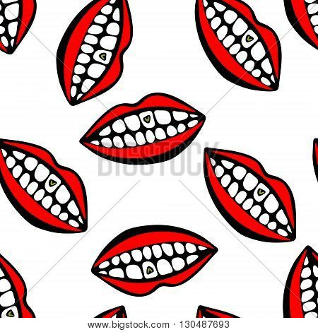 Seamless pattern withred lips and teeth. One tooth with heart.