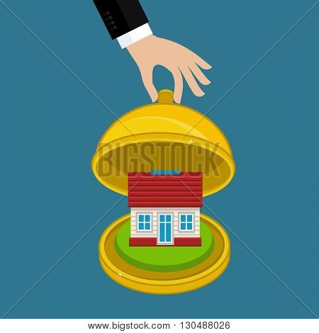 Concept of house insurance. Restaurant cloche with icon of house. Flat design, vector illustration.
