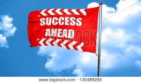 Success sign with smooth lines, 3D rendering, a red waving flag