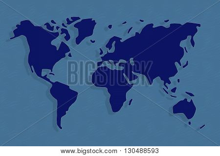Abstract world map in light and dark blue, continents floating with shadows in ocean.