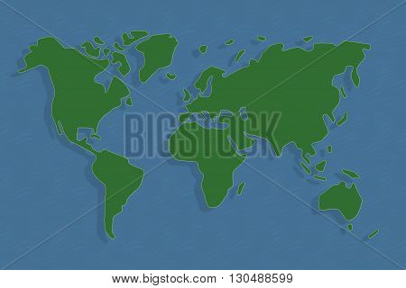 Abstract world map in green and blue, continents floating with shadows in ocean.