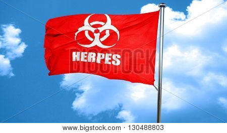 Herpes virus concept background, 3D rendering, a red waving flag