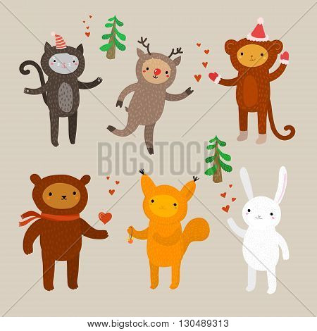 Set of cute animals. Flat design, vector illustration