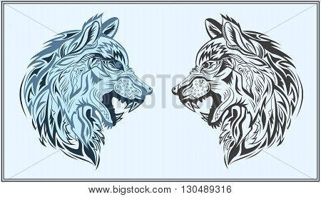 Decorative head of a wolf on a blue background. Isolated decorative animals in a modern style for design bags, posters, tattoos, logos. Vector illustration