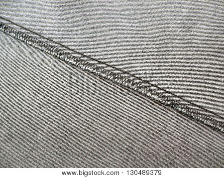 gray jeans texture with seamjeans seam inside