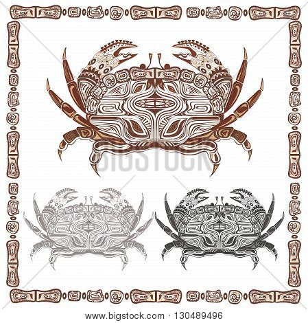 Ethnic ornamental crab on a white background. Isolated crustaceans with brown and black patterns. Decorative frame in a modern style for menu design, t-shirts, bags, card. Vector illustration