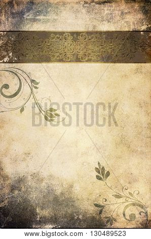 Aging paper background with decorative vintage border and patterns.