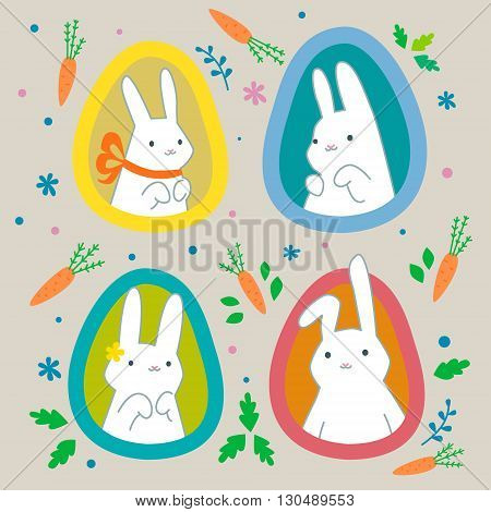 Greeting card with four icons white Easter rabbits. Easter Bunny.