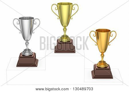 Golden, Silver And Bronze Trophy Cups On Imaginary Winners Podium
