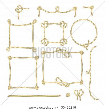 Set of Simple Rope Frames Graphic Designs on white background.