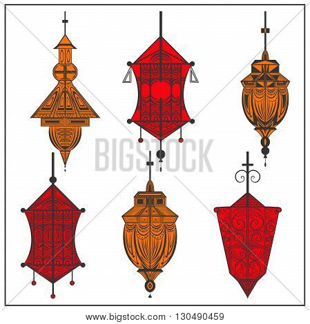 Set elegant ethnic ornamental suspended lamps on a white background. Isolated elements in two colors orange, red. The modern concept for design. Vector illustration