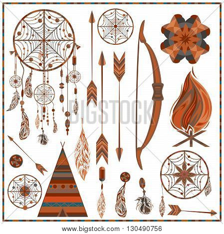 Set elements ethnic style. Dream Catcher. Indian colored decorative components. Isolated arrows, feathers, beads, wigwam, onions, fire, earring. The concept for the design. Vector illustration
