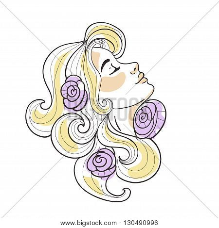 Blonde girl with roses in her hair. Vector illustration on the white background.